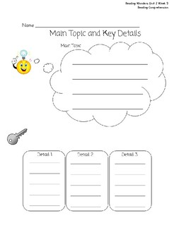 Main Idea/Key Details Graphic Organizer Reading Wonders