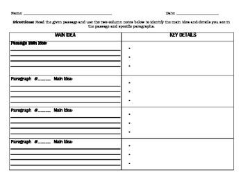 Main Idea & Key Details Two Column Notes