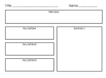 Main Idea, Key Details, and Summary Graphic Organizer