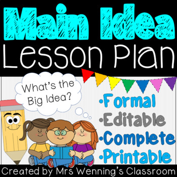 Main Idea! Lesson Plan with Activities and Assessment!
