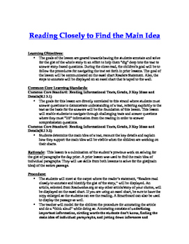 Main Idea Lesson Plan