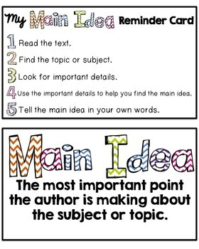 Main Idea Lessons and Task Cards