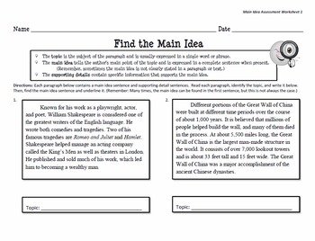 main idea match worksheets by kristin boone teachers pay teachers. Black Bedroom Furniture Sets. Home Design Ideas