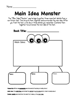 Main Idea Monster