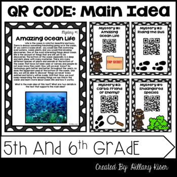 Main Idea Mysteries (QR Code Activity: 5th and 6th Grade)