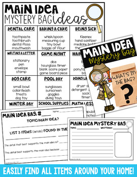 Main Idea and Supporting Details Practice | Themed Mystery Bags