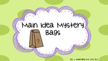Main Idea Mystery Bags Inferences