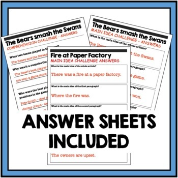 Main Idea Newspaper - differentiated reading passages - real world articles