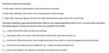 Main Idea Organizational Activity