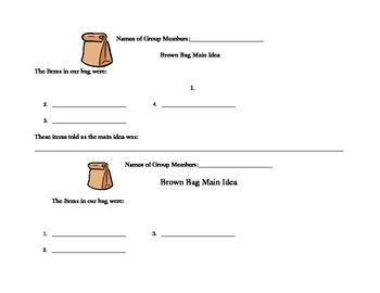 Main Idea Paper Bag Activity