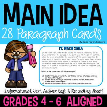 Main Idea Paragraph Cards