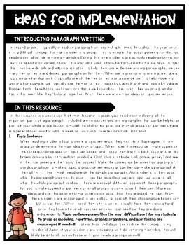 Main Idea Paragraph Writing - Grades 1 & 2