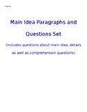 Main Idea Paragraphs and Questions Set