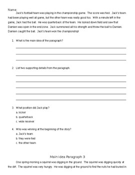 Main Idea Paragraphs and Questions Set