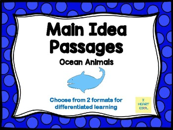 Main Idea Passages (Ocean Animals)- with Digital Option