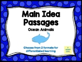 Main Idea Passages (Ocean Animals)- with Digital Option