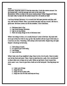 Main Idea Passages Worksheet