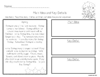 Main Idea Passages for March