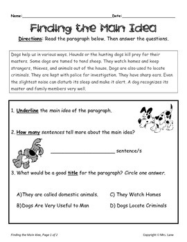 Central Ideas ELA-Literacy.RI.6.2 Reading Informational Text ...