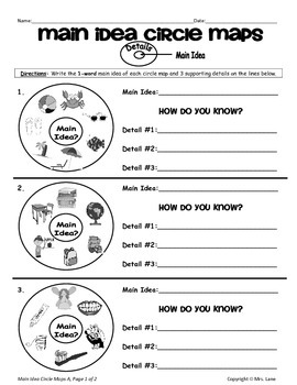 elementary main idea worksheets by mrs lane teachers pay teachers. Black Bedroom Furniture Sets. Home Design Ideas