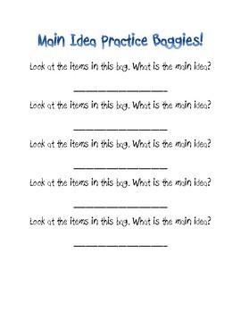Main Idea Practice Baggies