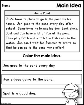 Main Idea Practice Passages for Reading Comprehension