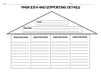Main Idea - Practice Worksheets and Graphic Organizer