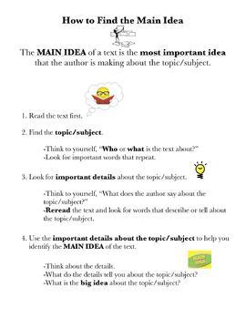 Main Idea Process Chart