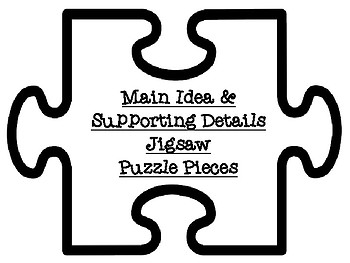 Main Idea Puzzle Pieces