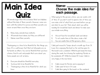 Main Idea Quiz