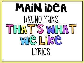 Main Idea Rap--That's What We Like Bruno Mars