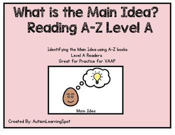 Main Idea - Reading A-Z level A