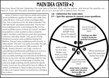 Main Idea Reading Centers | 4th and 5th Grade Reading Spinner Centers