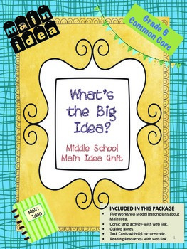 Main Idea - Reading Comprehension Skills for Middle School Special Ed
