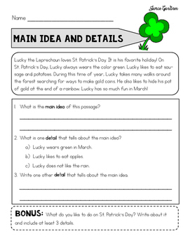 Main Idea Reading Comprehension Strategies