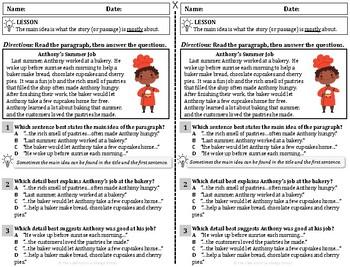 Main Idea & Detail ELA Reading Drill / Exit Slip