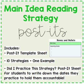 Main Idea Reading Strategy Post-Its