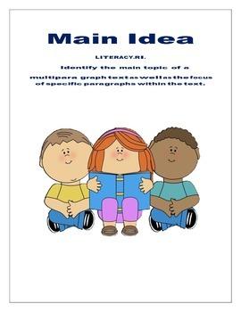 Main Idea .... Reading plan.. common core aligned