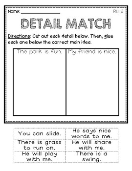 Main Idea Resources for First Graders