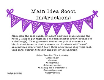 Main Idea Scoot and Task Cards
