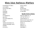 Main Idea Sentence Starters Poster