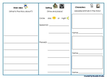 Main Idea Setting Characters Graphic Organizer
