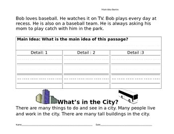 Main Idea Do Now Exit Tickets Warm Up Short Stories with Graphic Organizer