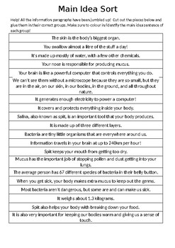 Main Idea Sort - Gross Facts