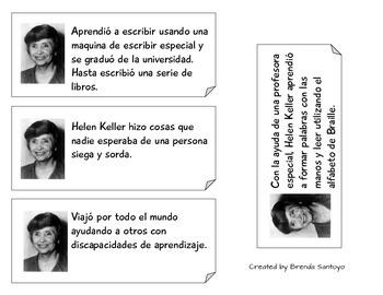 Main Idea Sorting Game 'Famous Women' in Spanish