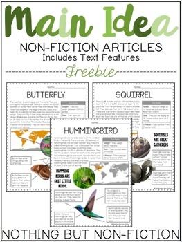 Main Idea Spring Non-Fiction Articles ::FREEBIE::