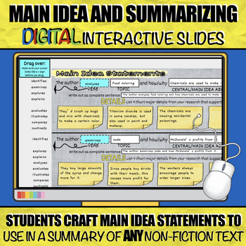 Main Idea Statements and Summarizing *Updated with Digital Interactive Version*