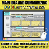 Main Idea and Summarizing: DIGITAL Interactive Slides to u