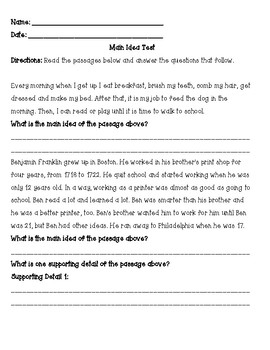 Main Idea Study Guide and Test