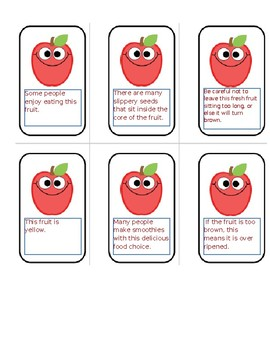 Main Idea/Supporting Details- Apples to Apples